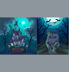 scary landscapes with old house and zombie vector image