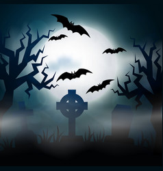 scary night halloween vector image