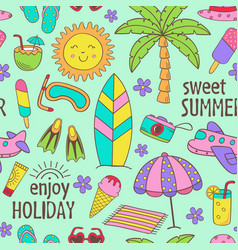 Seamless pattern with summer icons vector