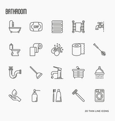 set of bathroom equipment thin line icons vector image
