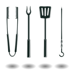 Set of monochrome bbq equipments signs vector