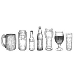 sketch beer beer glasses mugs and bottles vector image