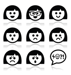 Smiley girl or woman faces avatar icons vector