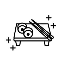Sushi oriental menu rolls sticks in board line vector