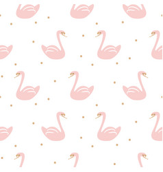 Swan pink cute baby simple seamless pattern vector