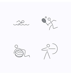 Swimming tennis and gymnastics icons vector image