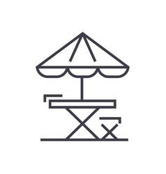 table chair and sun umbrella line icon vector image