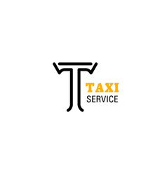 taxi service company letter t icon vector image