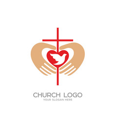 the cross and the hands of christ the heart vector image