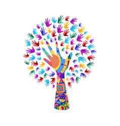 Tree with human hands for social work help vector