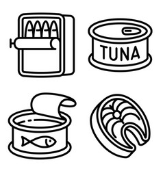 Tuna icons set outline style vector