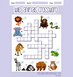 Wild animals crossword template vector