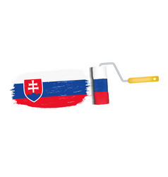 brush stroke with slovakia national flag isolated vector image vector image