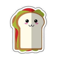 cartoon sandwich tasty food vector image
