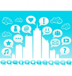 city social icons vector image vector image