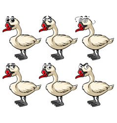 Goose with different emotions vector