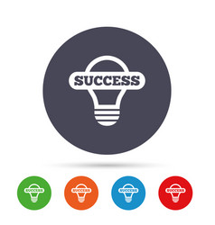 light lamp sign icon bulb with success symbol vector image