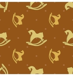 Seamless pattern with horse rocking toy vector image vector image
