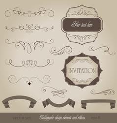 Set calligraphic design elements and page decorati vector