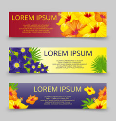 tropical leaves and flowers banners template vector image vector image