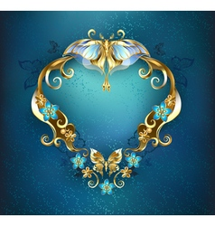 Banner with Gold Butterflies vector image vector image