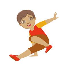boy dancing breakdance performing on stage school vector image vector image