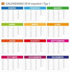 Calendar 2014 Spain Type 1 vector image vector image