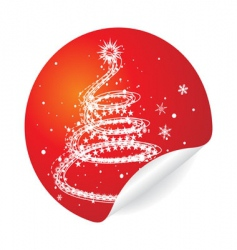 Christmas tree sticker vector image