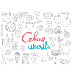 cooking utensils line icons kitchen concept vector image