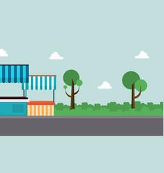 art of street stall background landscape vector image vector image