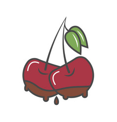 cherry in chocolate isolated icon vector image vector image