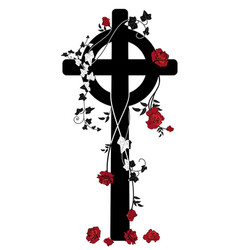 crucifix roses and ivy vector image vector image