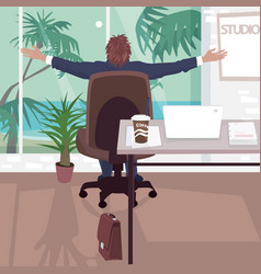 happy employee in office near tropical beach vector image