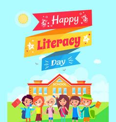 happy literacy day ribbon vector image