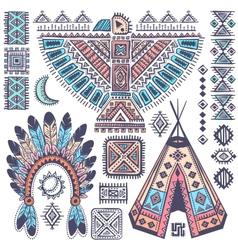 Vintage set of native American symbols vector image vector image