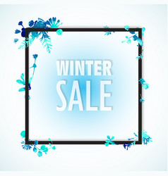 winter sale banner blue watercolor leaves and vector image vector image