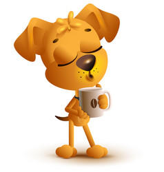 yellow dog holding coffee cup vector image vector image