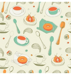 Afternoon Tea Seamless Pattern vector image vector image