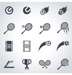 black tennis icon set vector image