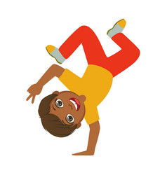 boy standing upside down on one hand dancing vector image