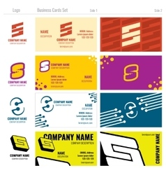 Business card templates with S logo vector image vector image
