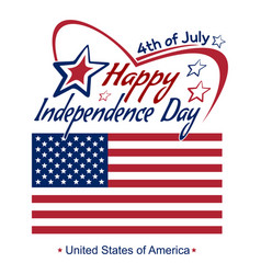 independence day lettering card 4th of july vector image