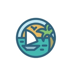 Yacht sailing around the island of dreams with vector image
