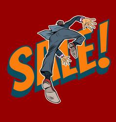 a man runs to a sale vector image