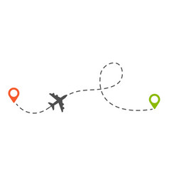 Airplane route isolated plane or aircraft dotted vector