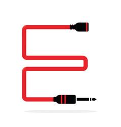 alphabet e letter logo formed jack cable vector image