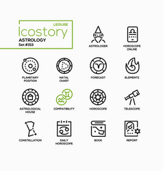 Astrology concept - line design style icons set vector