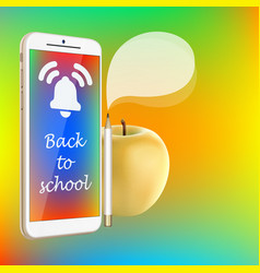 back to school smartphone yellow apple pencil vector image