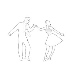 Beautiful girl and handsome man dancing rock vector