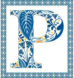 Blue letter P vector